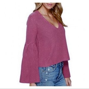 FREE PEOPLE Damsel Pink Bell Sleeve Knit Sweater